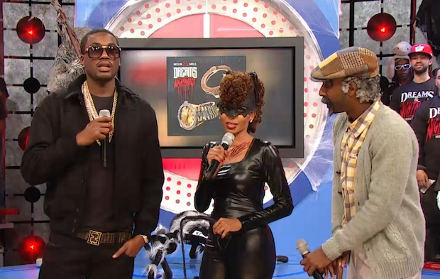 Meek-Mill-wearing-Vintage-Cazal-616-Sunglasses-Fendi-Logo-Belt-and-Givenchy-Star-Embroidered-Wool-Jacket-on-BET-106-Park