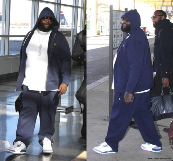 b029fb4a8ef Rick Ross Wearing Polo Ralph Lauren Navy Sweatsuit   Jordan 3 True Blue