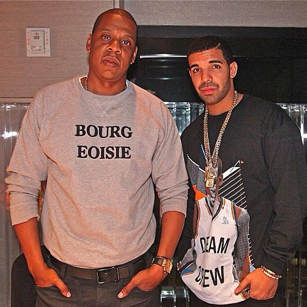 Jay-Z-wears-Soulland-Bourgeoisie-Sweatshirt-and-Drake-in-OVO-Dream-Crew-Sweatshirt