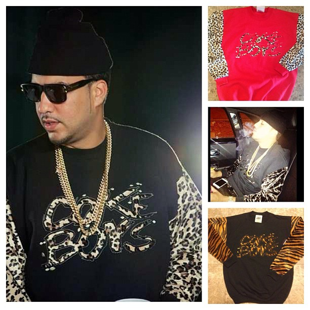 d2b066c0c81 French Montana wearing Coke Boys Wear Cheetah Crewneck Sweater